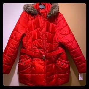 Women's Larry Levine Belted Mid-Length Puff Jacket